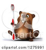 Clipart Of A 3d Beaver Character Walking With A Toothbrush Royalty Free Illustration