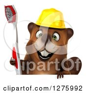 Clipart Of A 3d Construction Beaver Holding A Toothbrush Over A Sign Royalty Free Illustration