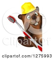 Clipart Of A 3d Construction Beaver Holding A Toothbrush Around A Sign Royalty Free Illustration