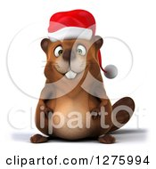 Clipart Of A 3d Christmas Beaver Royalty Free Illustration