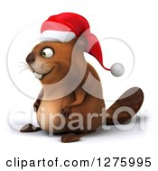Clipart Of A 3d Christmas Beaver Facing Left Royalty Free Illustration by Julos