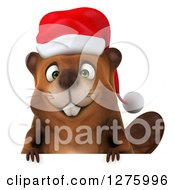 Clipart Of A 3d Christmas Beaver Smiling Over A Sign Royalty Free Illustration by Julos