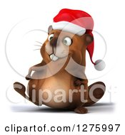 Clipart Of A 3d Christmas Beaver Walking Slightly To The Left Royalty Free Illustration by Julos