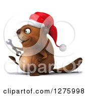 Clipart Of A 3d Christmas Beaver Holding A Wrench And Walking To The Left Royalty Free Illustration by Julos