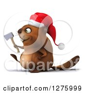 Clipart Of A 3d Christmas Beaver Holding An Axe And Walking To The Left Royalty Free Illustration by Julos