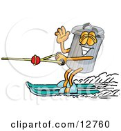 Clipart Picture Of A Garbage Can Mascot Cartoon Character Waving While Water Skiing