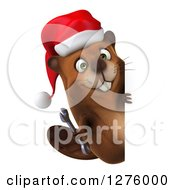 Clipart Of A 3d Christmas Beaver Holding A Wrench Around A Sign Royalty Free Illustration by Julos