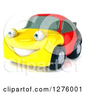 Clipart Of A 3d German Flag Porsche Car Character Facing Slightly Left Royalty Free Illustration