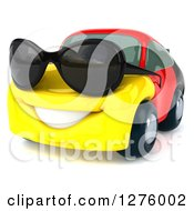 Clipart Of A 3d German Flag Porsche Car Character Wearing Sunglasses And Facing Slightly Left Royalty Free Illustration