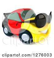 Clipart Of A 3d German Flag Porsche Car Character Wearing Sunglasses And Facing Slightly Right Royalty Free Illustration