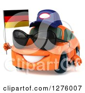 Clipart Of A 3d Orange Compact Mechanic Porsche Car Wearing Sunglasses Facing Slightly Left And Holding A German Flag Royalty Free Illustration