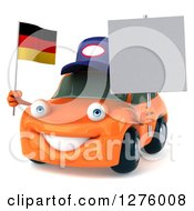 Clipart Of A 3d Orange Compact Mechanic Porsche Car Facing Slightly Left And Holding A Blank Sign And A German Flag Royalty Free Illustration