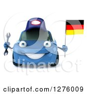 Clipart Of A 3d Blue Compact Mechanic Porsche Car Holding A Wrench And A German Flag Royalty Free Illustration