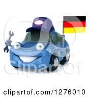 Clipart Of A 3d Blue Compact Mechanic Porsche Car Facing Slightly Left And Holding A Wrench And A German Flag Royalty Free Illustration
