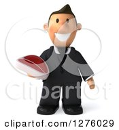 Clipart Of A 3d Short White Businessman Holding A Beef Steak Royalty Free Illustration