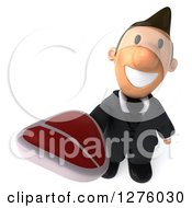 Clipart Of A 3d Short White Businessman Holding Up A Beef Steak Royalty Free Illustration