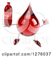 Clipart Of A 3d Hot Water Or Blood Drop Mascot Jumping With A Soda Bottle Royalty Free Illustration