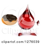 Clipart Of A 3d Hot Water Or Blood Drop Mascot Holding A Thumb Down And A Chocolate Frosted Donut Royalty Free Illustration