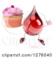Clipart Of A 3d Hot Water Or Blood Drop Mascot Jumping With A Pink Frosted Cupcake Royalty Free Illustration