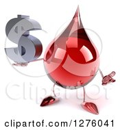 Clipart Of A 3d Hot Water Or Blood Drop Mascot Shrugging And Holding A Dollar Symbol Royalty Free Illustration