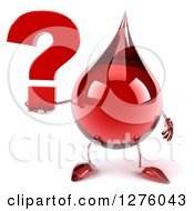 Clipart Of A 3d Hot Water Or Blood Drop Mascot Holding A Question Mark Royalty Free Illustration
