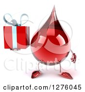 Clipart Of A 3d Hot Water Or Blood Drop Mascot Holding A Gift Royalty Free Illustration