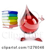 Clipart Of A 3d Hot Water Or Blood Drop Mascot Holding Up A Finger And A Stack Of Books Royalty Free Illustration