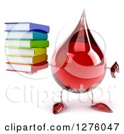 Clipart Of A 3d Hot Water Or Blood Drop Mascot Giving A Thumb Down And Holding Books Royalty Free Illustration