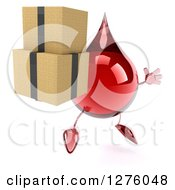 Clipart Of A 3d Hot Water Or Blood Drop Mascot Facing Right Jumping And Holding Boxes Royalty Free Illustration