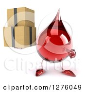 Clipart Of A 3d Hot Water Or Blood Drop Mascot Holding And Pointing At Boxes Royalty Free Illustration