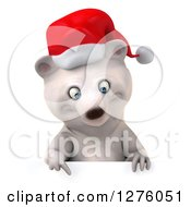 Clipart Of A 3d Christmas Polar Bear Pointing Down Over A Sign Royalty Free Illustration