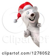 Clipart Of A 3d Christmas Polar Bear Giving A Thumb Up Around A Sign Royalty Free Illustration