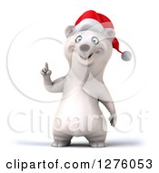 Clipart Of A 3d Christmas Polar Bear Holding Up A Finger Royalty Free Illustration