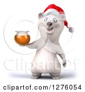 Clipart Of A 3d Christmas Polar Bear Holding A Honey Jar Royalty Free Illustration