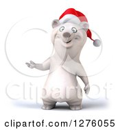 Clipart Of A 3d Christmas Polar Bear Presenting To The Left Royalty Free Illustration