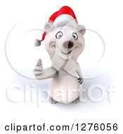 Clipart Of A 3d Christmas Polar Bear Smiling Upwards And Giving A Thumb Up Royalty Free Illustration