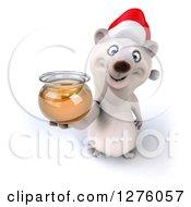 Clipart Of A 3d Christmas Polar Bear Holding Up A Honey Jar Royalty Free Illustration