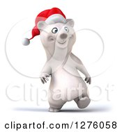 Clipart Of A 3d Christmas Polar Bear Walking Slightly To The Right Royalty Free Illustration
