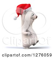 Clipart Of A 3d Christmas Polar Bear Walking To The Right Royalty Free Illustration