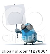 Clipart Of A 3d Blue Bird Wearing Sunglasses And Holding Up A Blank Sign Royalty Free Illustration
