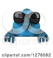Clipart Of A 3d Blue Bird Wearing Sunglasses Over A Sign Royalty Free Illustration