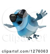 Clipart Of A 3d Blue Bird Flying In Sunglasses Royalty Free Illustration