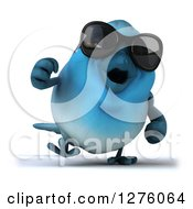 Clipart Of A 3d Blue Bird Wearing Sunglasses And Walking Royalty Free Illustration