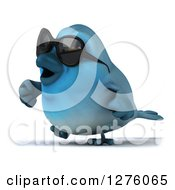 Clipart Of A 3d Blue Bird Wearing Sunglasses And Walking To The Left Royalty Free Illustration