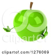 Clipart Of A 3d Green Apple Character Presenting To The Left Royalty Free Illustration