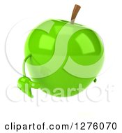 Clipart Of A 3d Green Apple Character Pouting To The Right Royalty Free Illustration