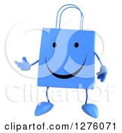 Clipart Of A 3d Blue Happy Shopping Or Gift Bag Character Presenting Royalty Free Illustration