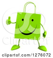 Clipart Of A 3d Green Happy Shopping Or Gift Bag Character Giving A Thumb Up Royalty Free Illustration