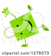 Clipart Of A 3d Green Happy Shopping Or Gift Bag Character Cartwheeling Royalty Free Illustration