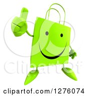 Clipart Of A 3d Green Happy Shopping Or Gift Bag Character Holding A Thumb Up Royalty Free Illustration